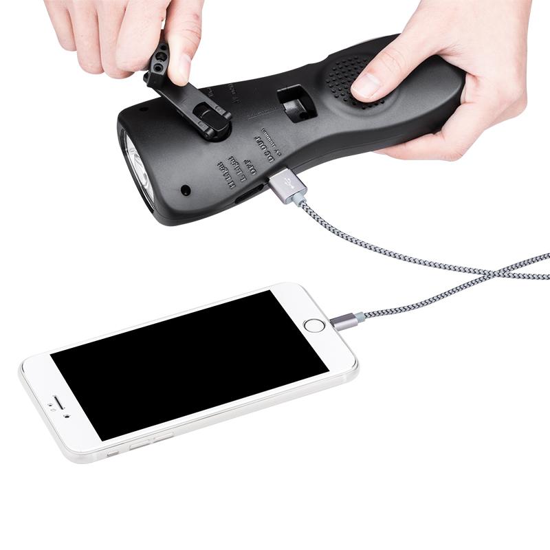 途马应急抗灾救援报警照明手电手摇发电USB移动电源充手机笔记本