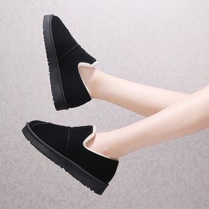 冬季雪地靴女平底懒靴短筒加绒包鞋