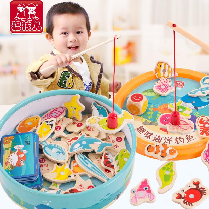 木质磁性婴儿童钓鱼玩具套装1一3周岁2半小男孩子女孩宝宝益智力