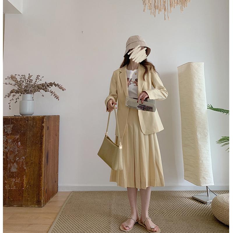 Minyang | ANDS kem màu vàng bơ cô gái 2020 mùa hè mới xếp li váy dài giữa váy nữ - Váy