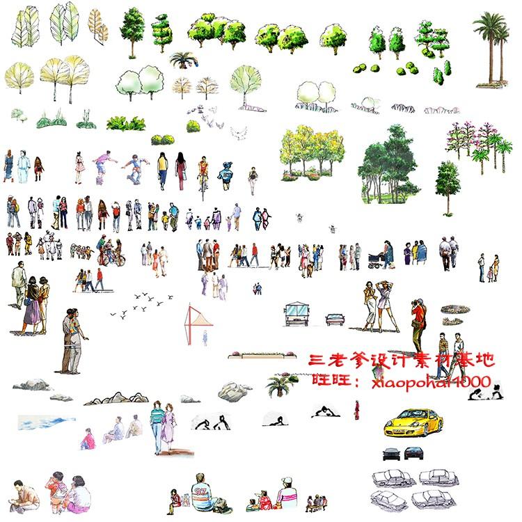 园林景观PS彩色总平面图案笔刷立面填充植物铺装psd分层设计素材插图(30)