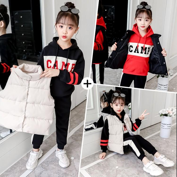 女童秋冬套装2019新款中大儿童洋气冬季加绒加厚小女孩卫衣三件套