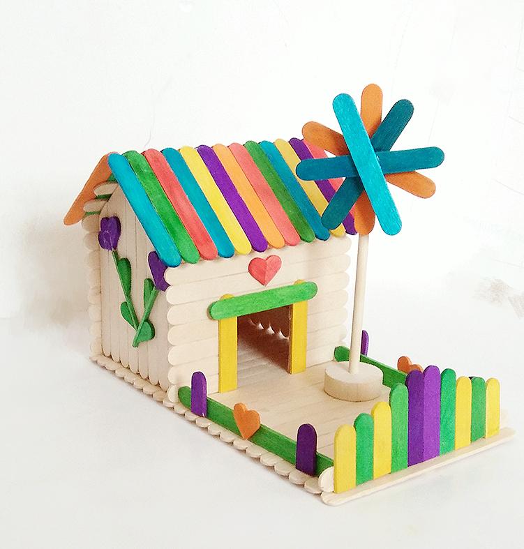 Wood strip diy handmade model material ice cream stick popsicle stick  wooden stick making cabin house children's handmade