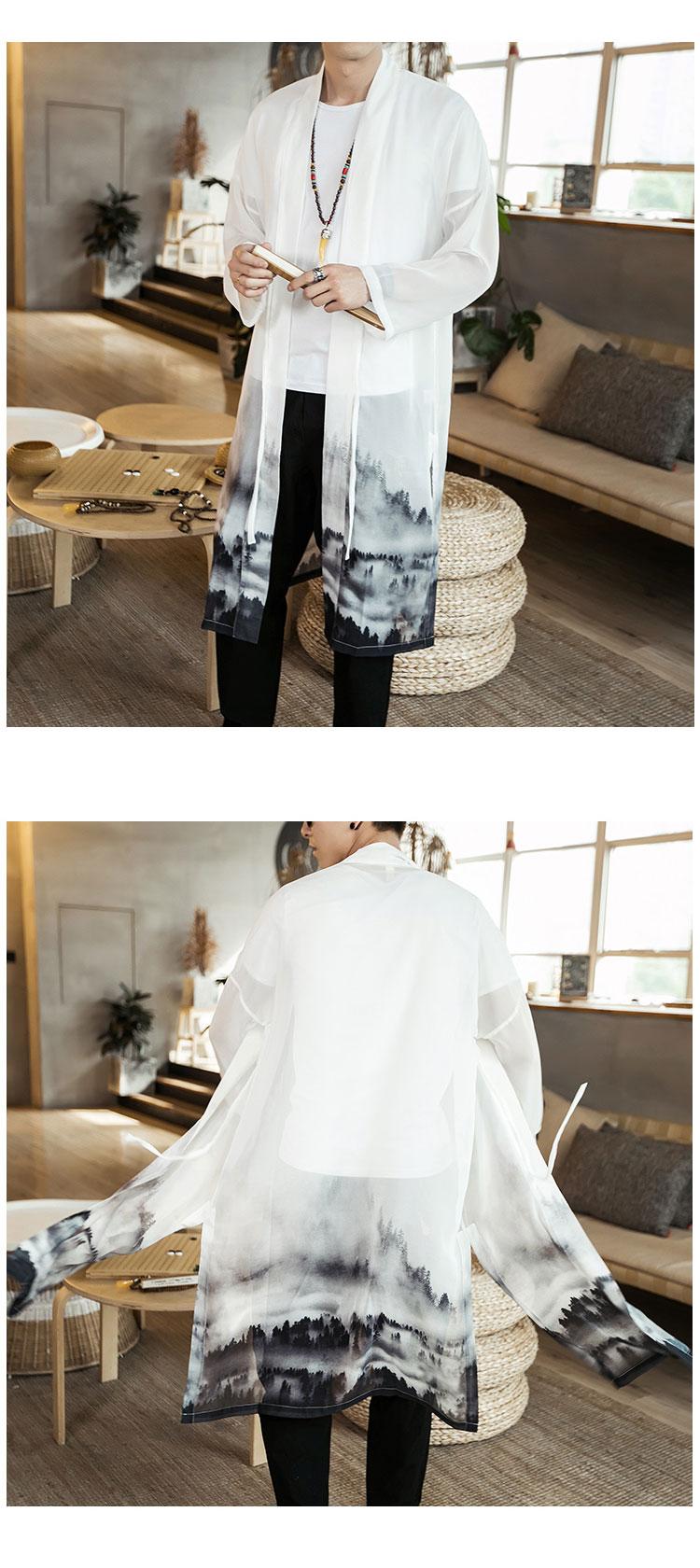 2019夏装中国风男装夏季雪纺薄款风衣男防晒衣长衫C229/F26/P85