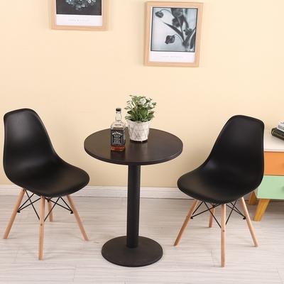 Один ножка черный Круглый стол + два стула