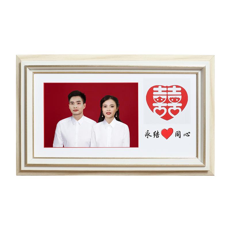 结婚证相框实木情侣夫妻放婚姻登记本相框结婚纪念日礼物相框摆台