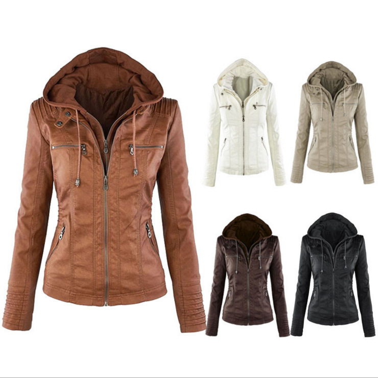 Jacket Women Euro Hood zipper coat Leather clothing