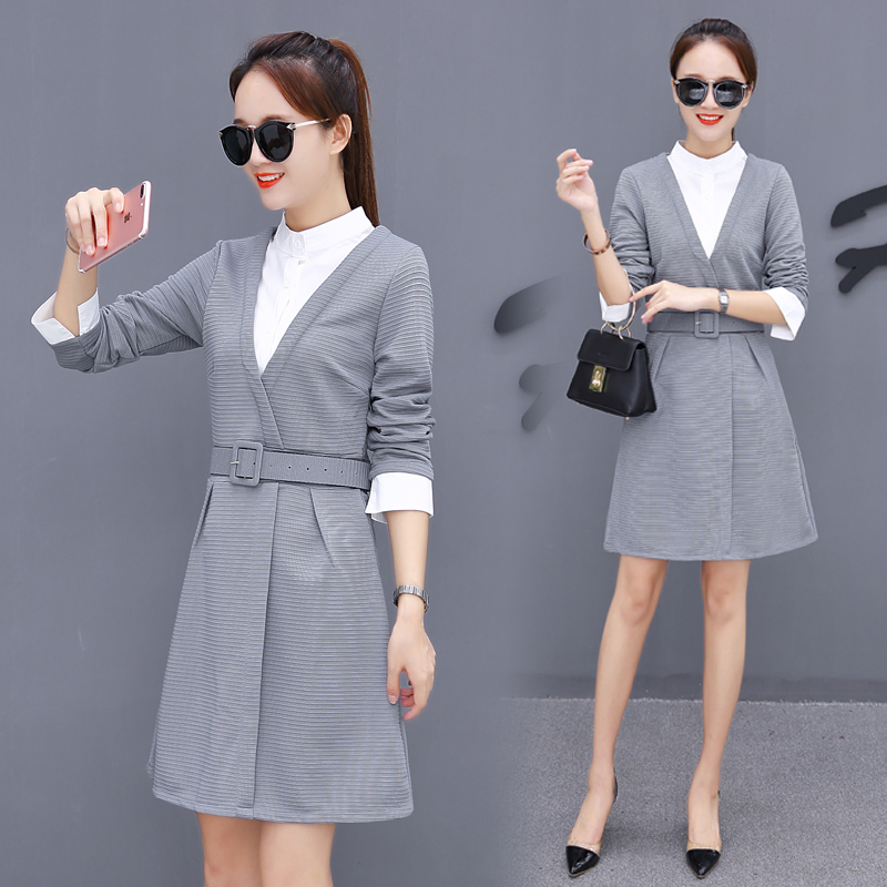 Spring New Style Dress, Korean Version, Long Sleeved Women's Wear, Two Sets Of Shirts, Skirts And Skirts.