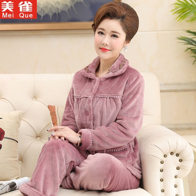 Spring, autumn and winter middle-aged and elderly pajamas female coral fleece warmth thickening middle-aged mother flannel home service suit