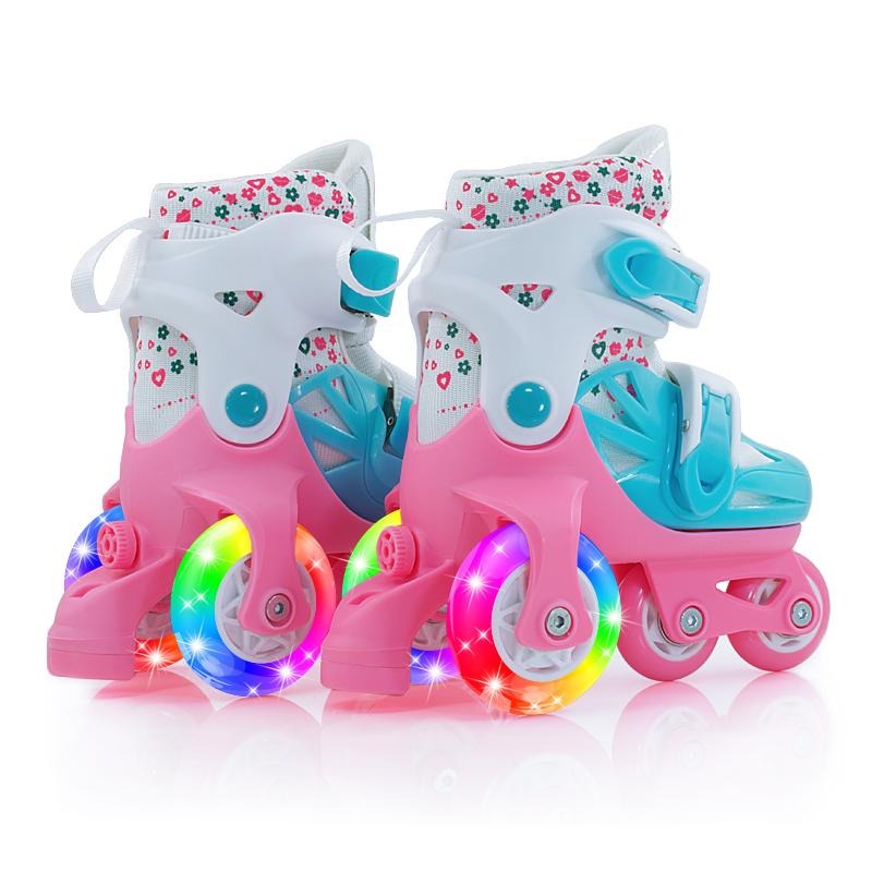 套装童溜冰鞋小孩女童2小童3男童4幼儿6岁宝宝轮滑旱冰初学者双排