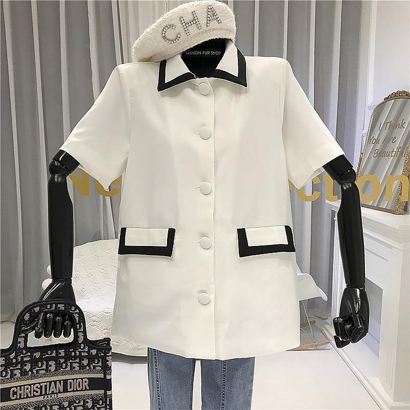 Mùa hè 2020 mới thời trang Hàn Quốc ve áo tương phản màu sắc ngắn tay áo sơ mi nữ giản dị phần mỏng áo hoang dã - Áo sơ mi dài tay