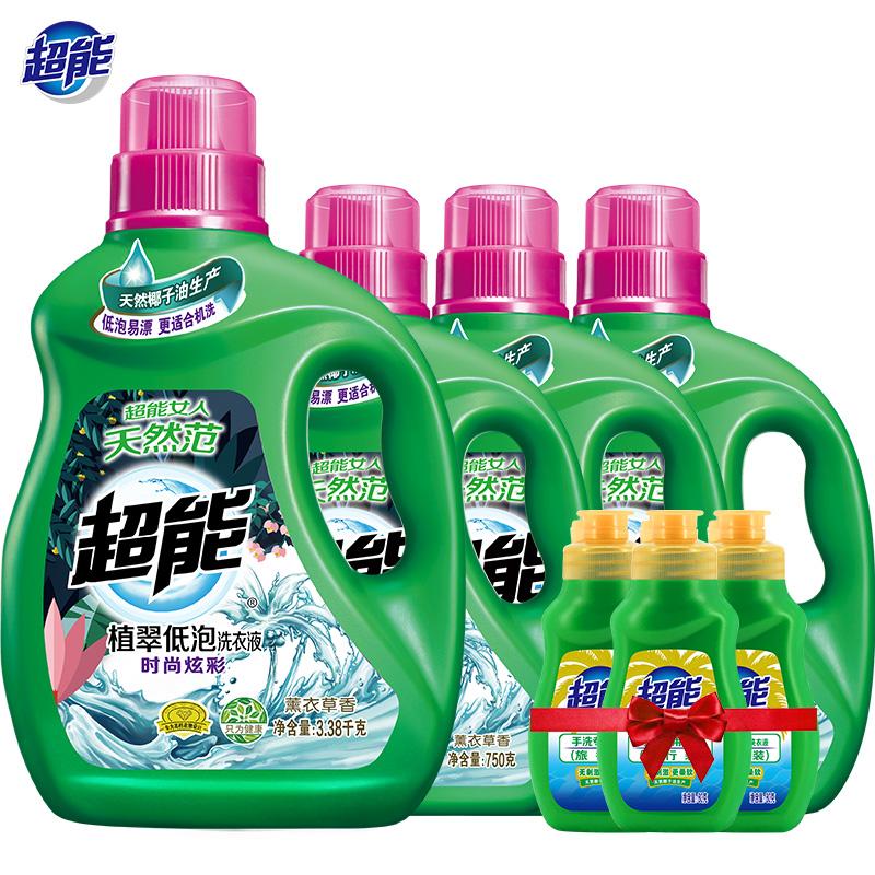 历史低价,12斤 超能 植翠低泡洗衣液 家庭量贩装