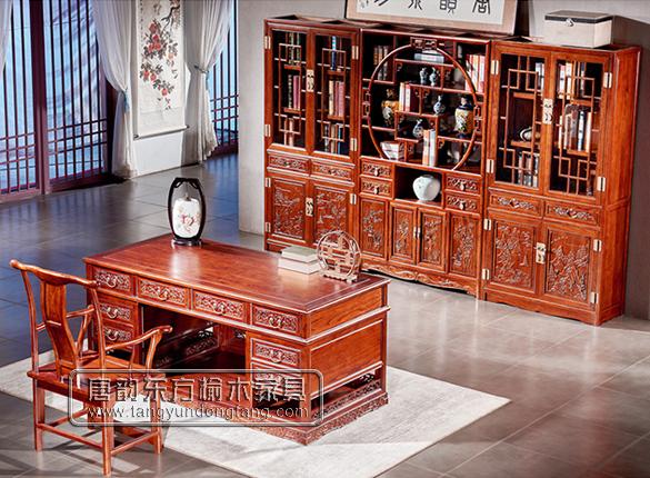 老榆木书桌书柜系列