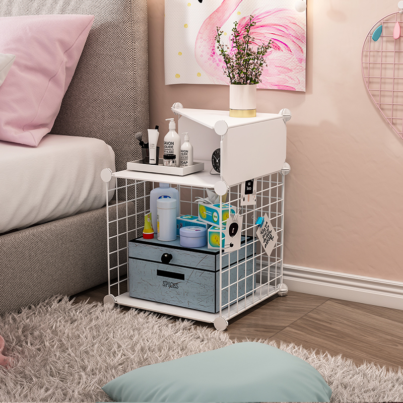Bedside table girl heart ins wind bedroom pink simple modern object rack iron Nordic wind small storage rack