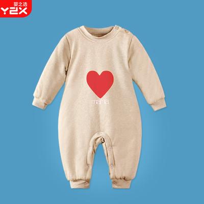 婴儿保暖连体衣秋冬季新生儿加厚棉衣女宝宝外出服哈衣男纯棉爬服
