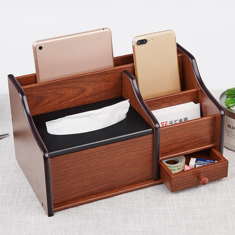 复古礼品纸巾多功能笔筒办公盒木质盒遥控器桌面名片盒收纳用手机