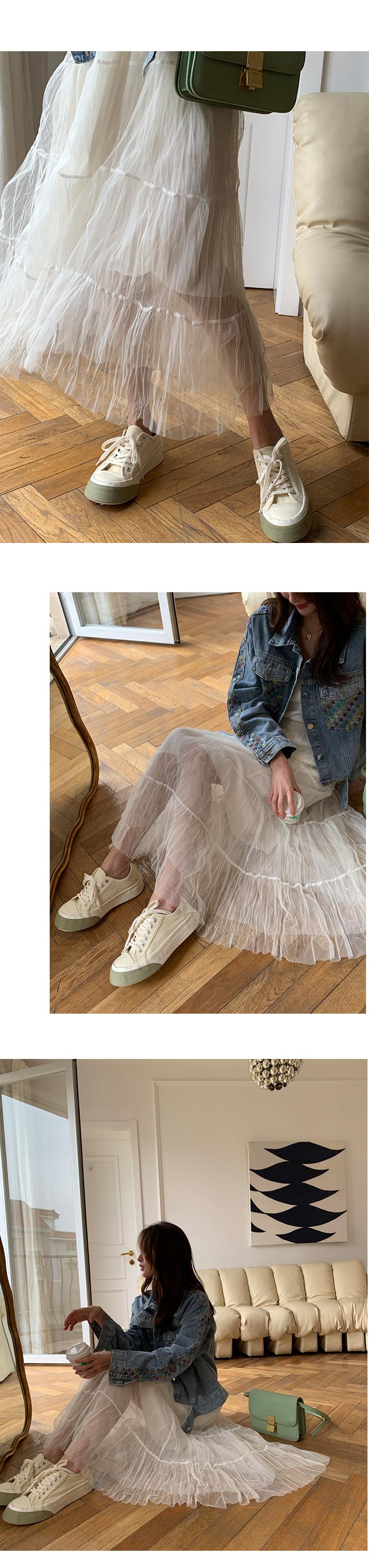 韓國小葉的店~南家女孩私人訂製款 肯尼亞 紗裙半身裙女夏2021春款白色網紗裙子洋裝