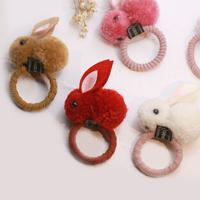 可爱秋冬款毛球兔子发圈女扎头绳