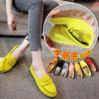 2021 new spring tendon driver soft bottom breathable flat peas shoes female a pedal social single shoes casual shoes