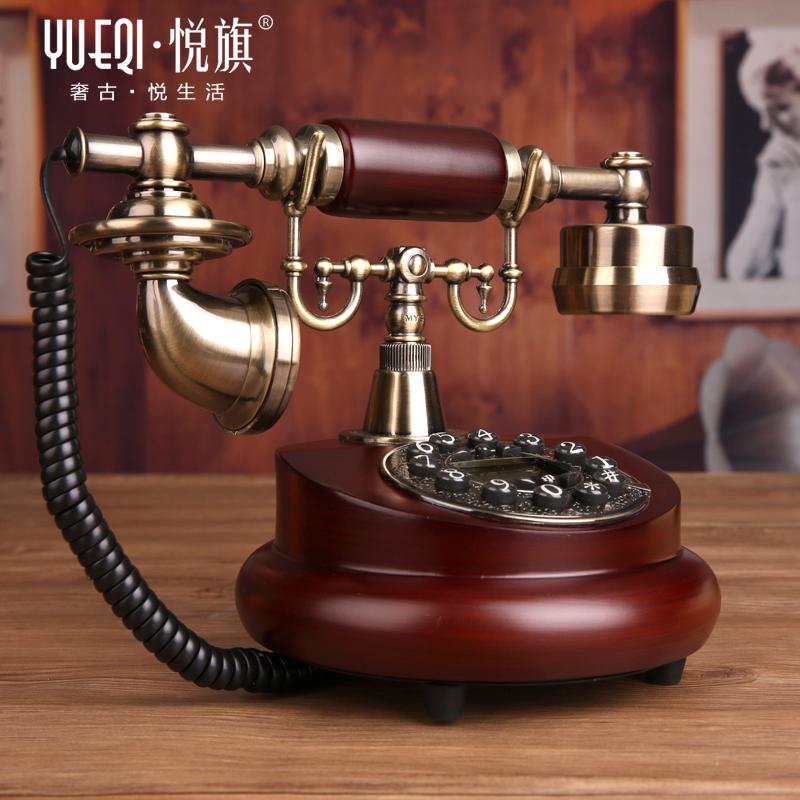 悦旗电话机座机固话时尚实木v座机固定家用欧式仿古复古创意电话机