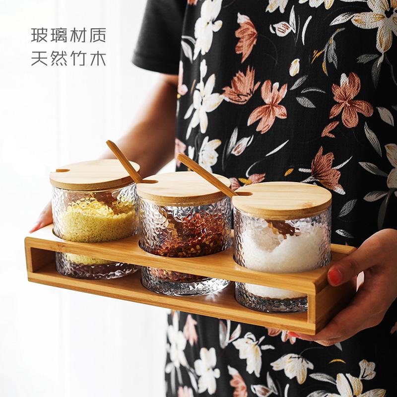 厨房用品透明玻璃调味调料v玻璃盒带创意罐家用油盐盖套装罐味精罐