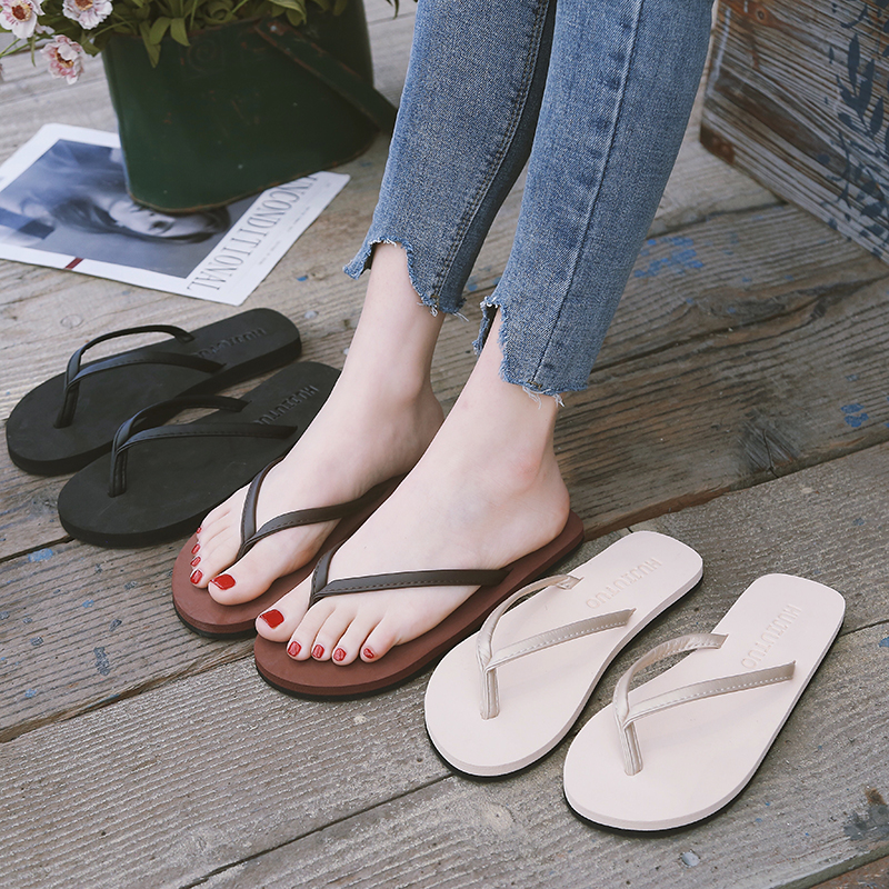 Flip-flop female summer fashion slippers male non-slip couple flat-bottom students simple outside wearing beach sandals slippers