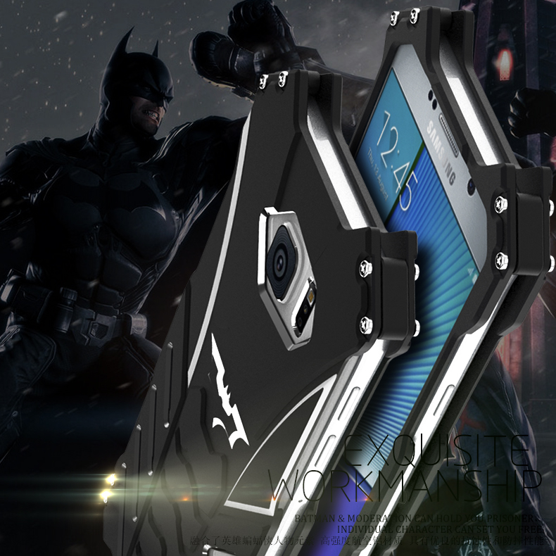 R-Just Batman Shockproof Aluminum Shell Metal Case with Custom Stent for Samsung Galaxy Note 5 N9200