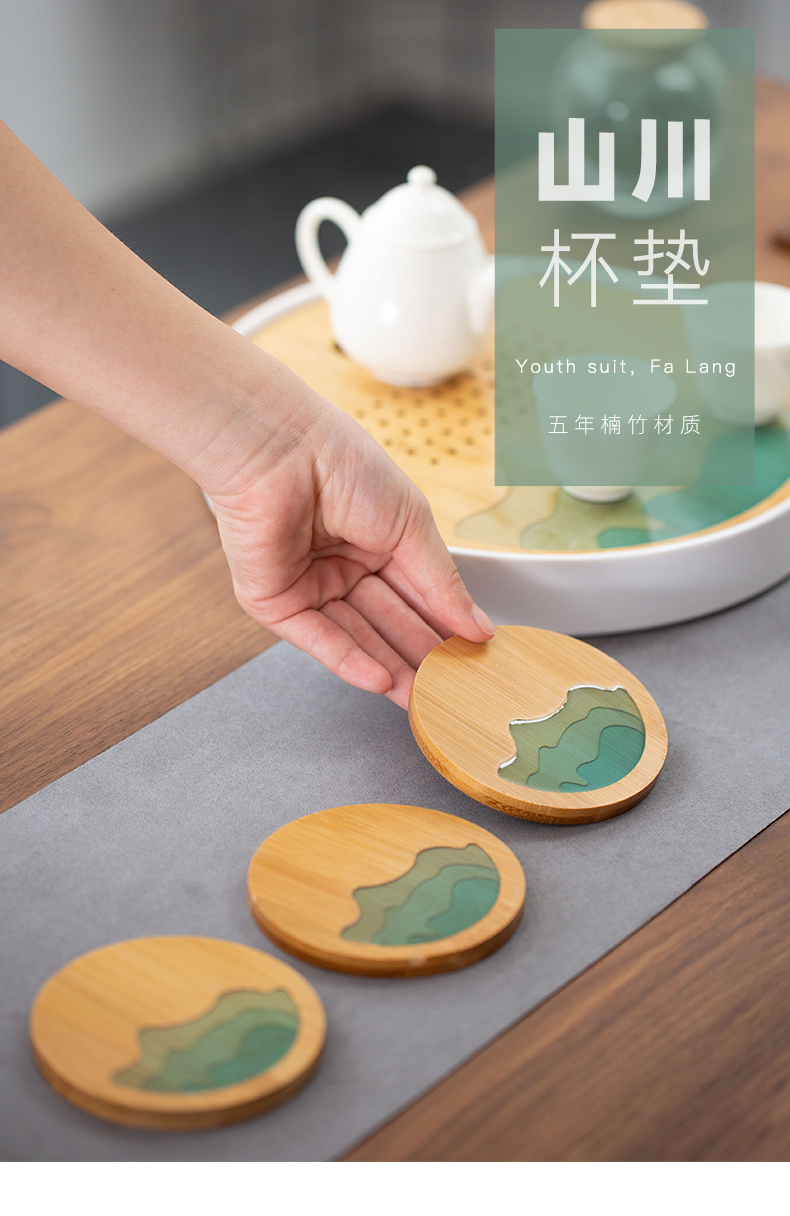 In building cup mat tea sets accessories tea cup mat bamboo household saucer bamboo kung fu tea cup pad