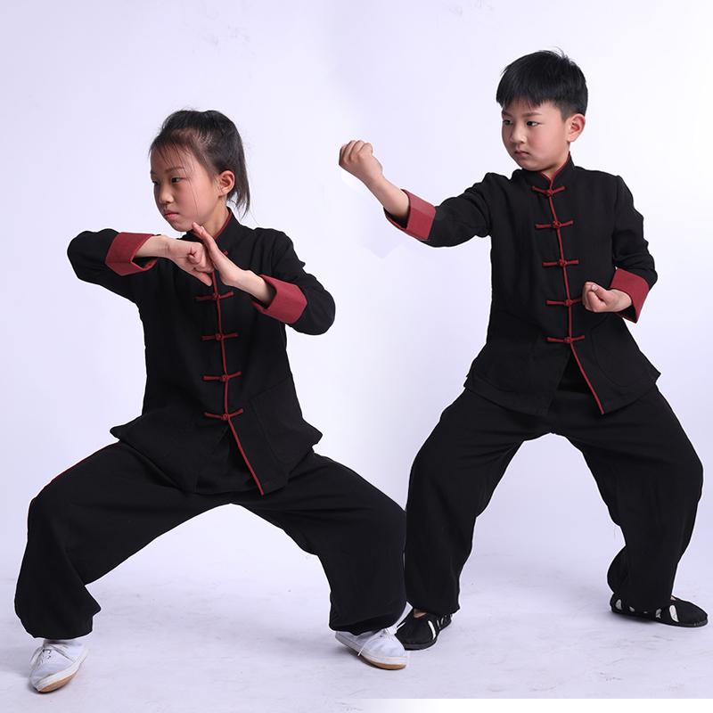 Boys Martial arts Kungfu & Tai-Chi Uniforms for Girls Wunong children's Taiji clothes flaxen spring children's boys and girls perform martial arts clothes Taijiquan training clothes