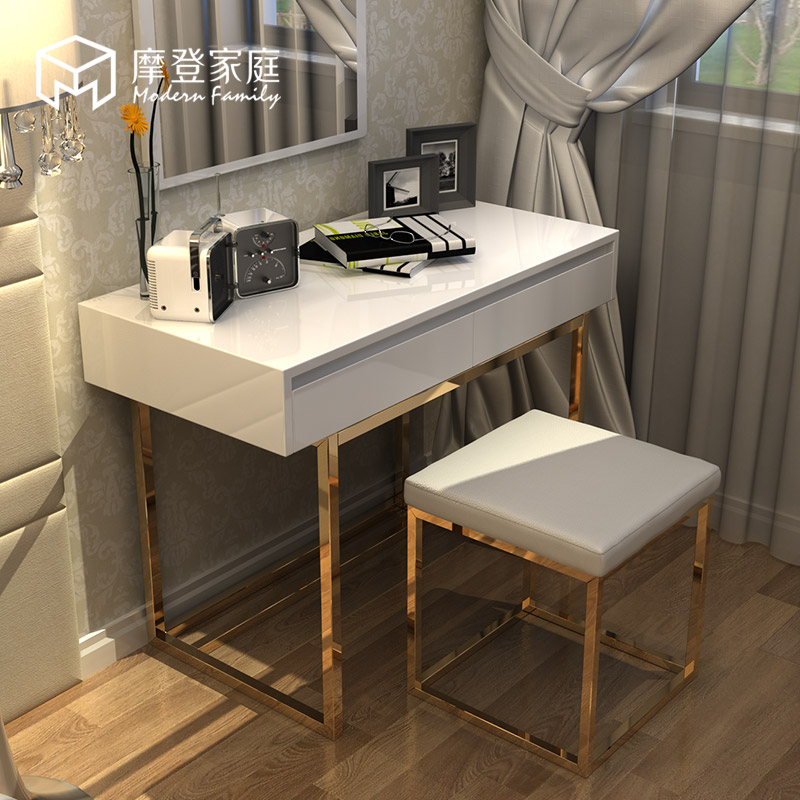 Modern Family small size bedroom makeup table simple stainless steel Light  Luxury dresser dressing stool mirror combination set