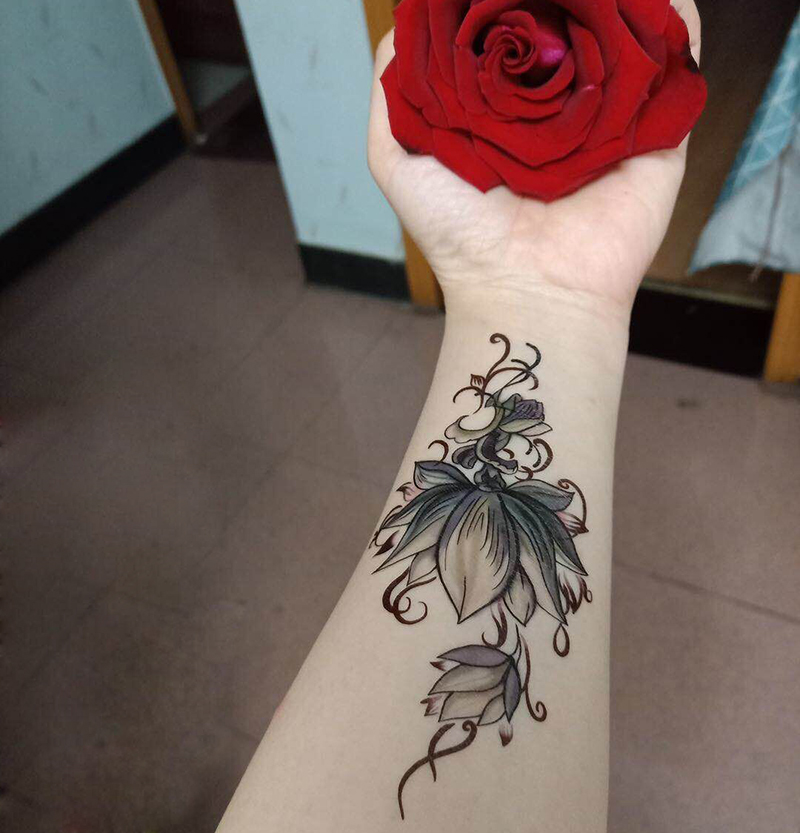 酷玩天下纹身贴防水男女持久玫瑰花臂