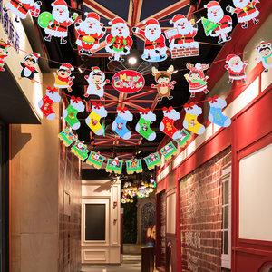 圣诞节装饰用品酒店商场珠宝店铺圣诞纸质拉旗吊旗幼儿园布置吊饰