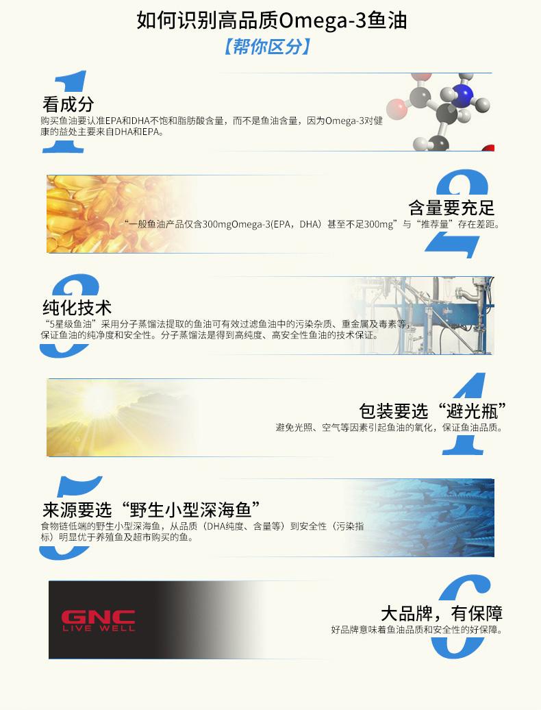 预售GNC健安喜浓缩加强无腥鱼油软胶囊120粒*2瓶DHA&EPA中老年 营养产品 第8张