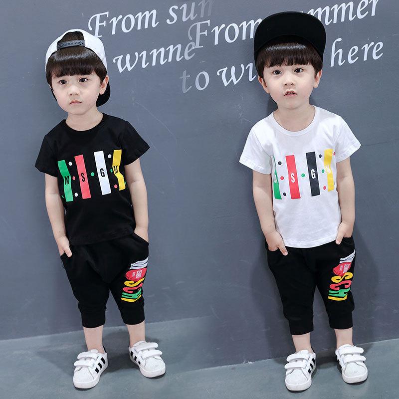 912019新款童装男童夏装中小童卡通全棉短袖套装两件套_领取30元淘宝优惠券
