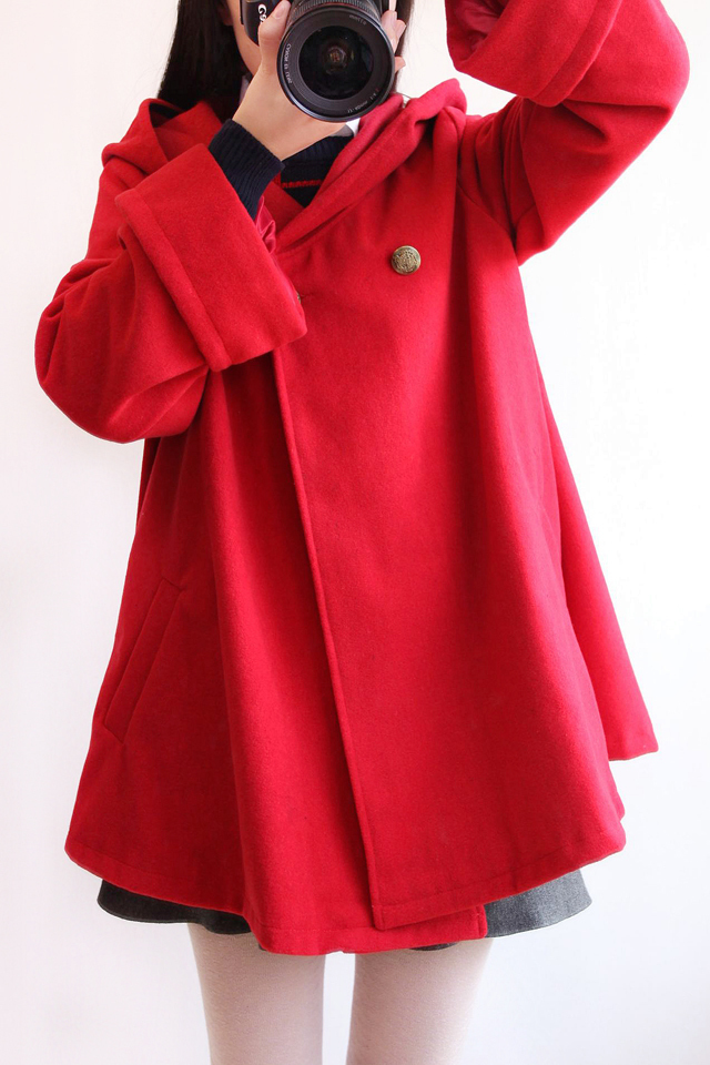 Japanese Sen female system Pure color hooded thick long wool coat small cloak type 2017 spring new women's clothing