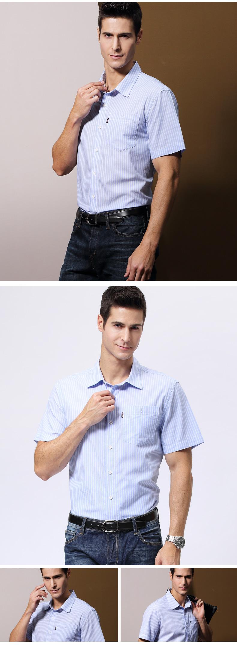 Boton Burton ngắn tay áo sơ mi nam kinh doanh để làm việc cha trung niên bông sọc áo mùa hè phần mỏng ao cong so