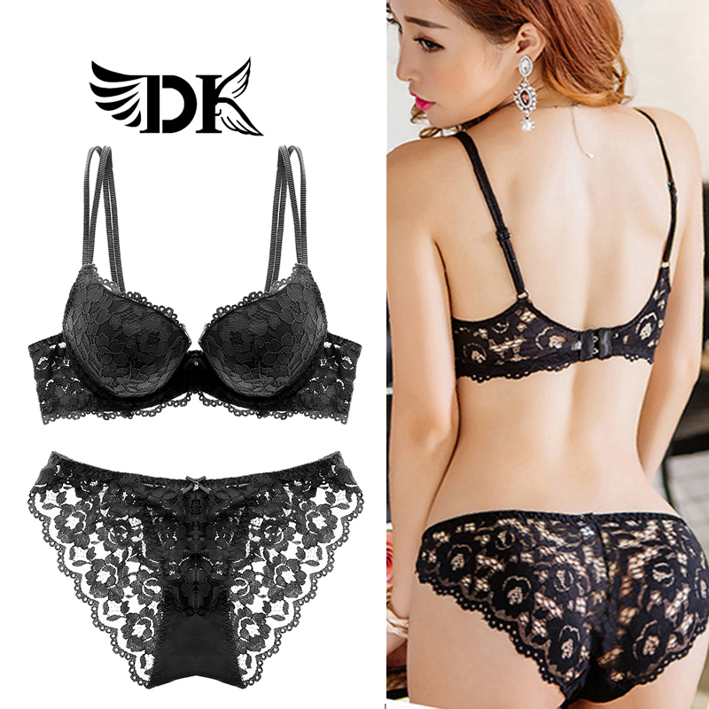 ef802205a France DK sexy lace embroidery bra set Girl small chest closed Breast Side  gathered thin underwear summer