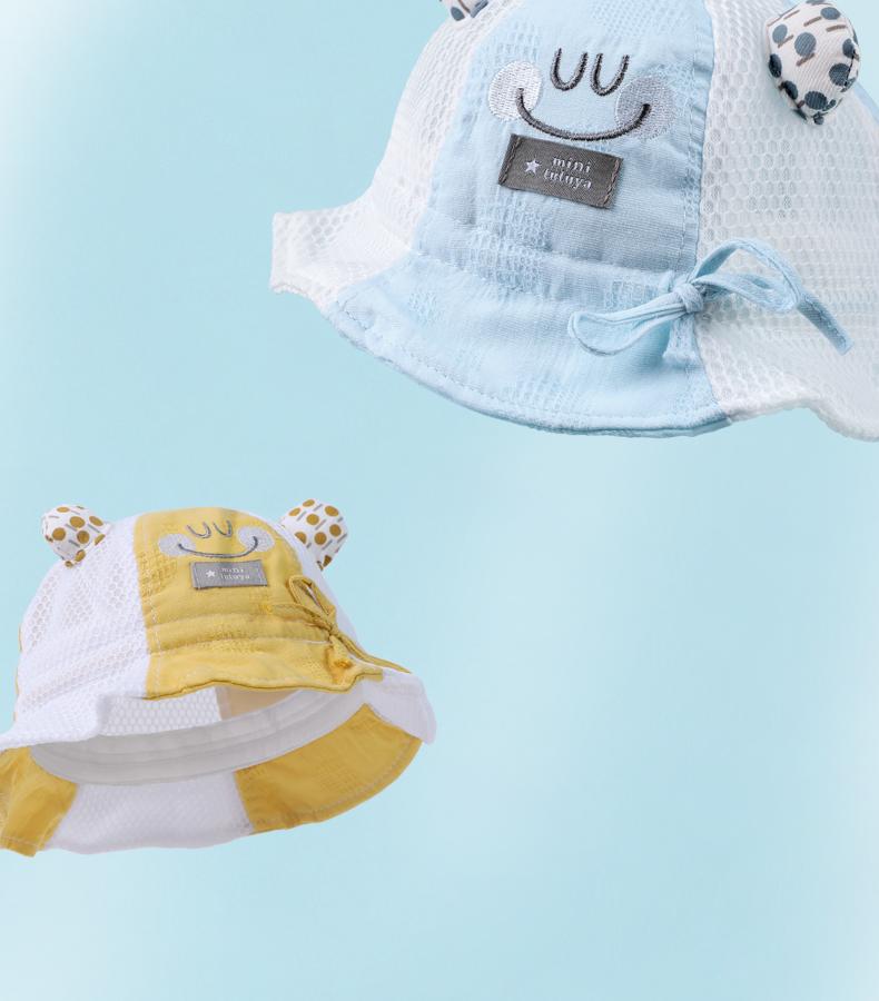 婴儿帽子夏季薄款春秋男宝宝女遮阳防晒渔夫帽儿童遮阳帽可爱超萌详细照片