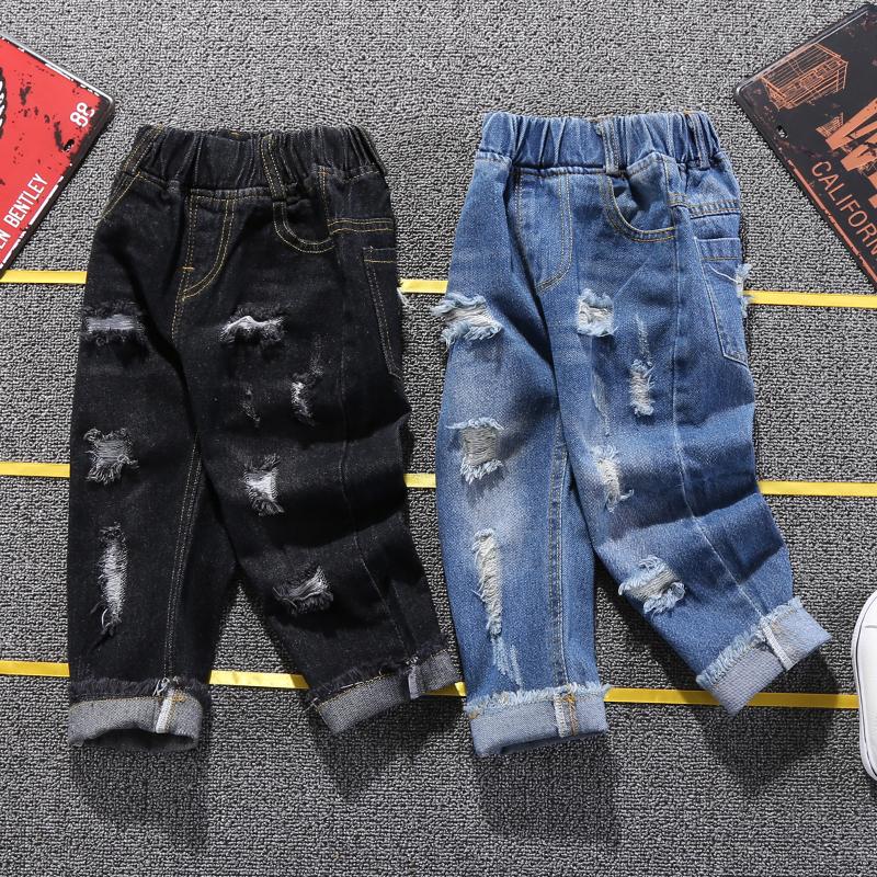 Quần jeans bé trai mùa xuân và quần mùa thu 1-3-5 tuổi 2 Phiên bản Hàn Quốc cho bé quần lửng ống rộng giản dị