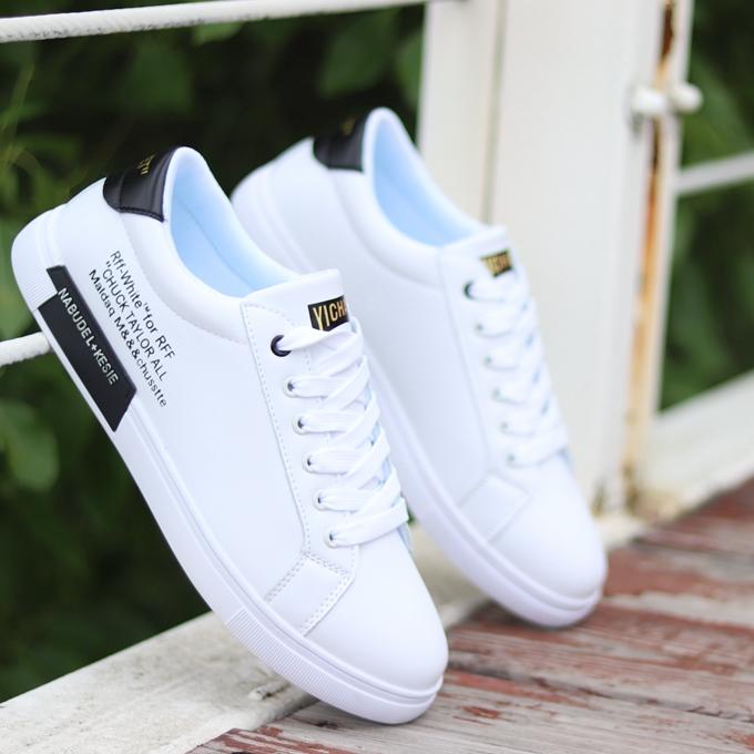 白色男韩版v白色鞋子男鞋春秋透气内增高板鞋百搭潮鞋小白鞋男防水