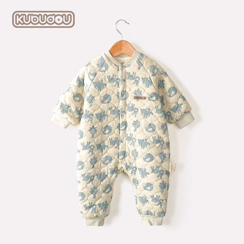 婴儿连体衣秋冬季纯棉加厚保暖棉衣夹棉哈衣爬服睡衣宝宝外出衣服