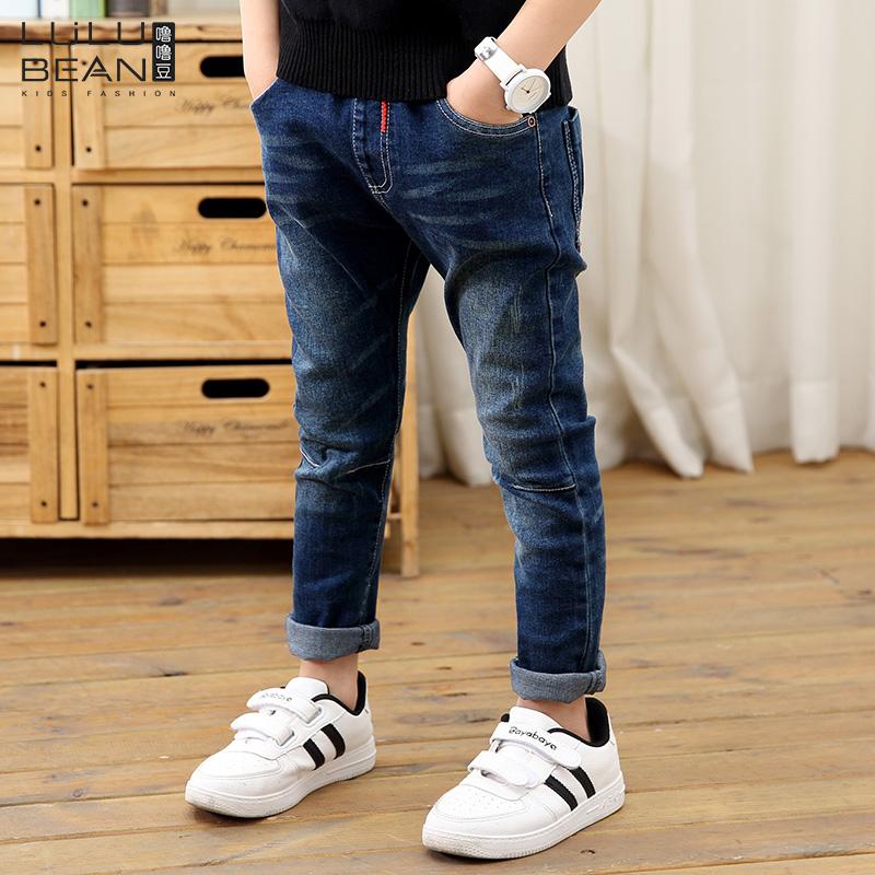 Детское на мальчика джинсы Большие девственные брюки 2018 футов новая коллекция демисезонный платье брюки детские детские тонкий стиль волна