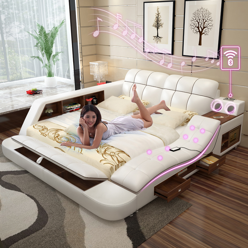 Usd Master Bedroom With Sound Bed Simple Modern Double Bed Tatami European Leather Bed