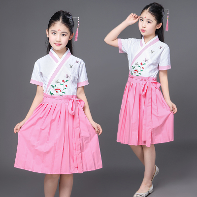 Children's daily clothes, baby girls, ancient costumes, fairy dress, guzheng girls performance costumes