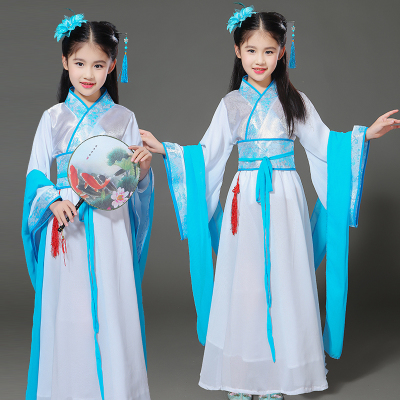 Children's costume, fairy dress, zither, Tang costume, performance dress, little girl tune, improvement of Sinology, Hanfu clothes.