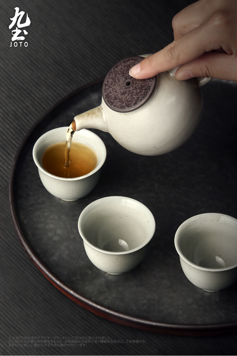 About Nine manual coarse soil clay POTS kung fu tea pot pottery is the pot of Japanese tea taking with black and white tea kettle tea cup