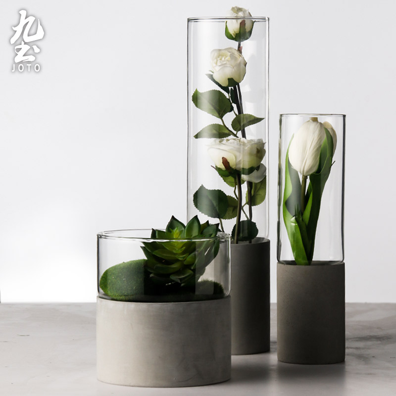 ChinaHao.com & Nine soil cement flower glass vase straight transparent Nordic living room decoration flower water culture glass fleshy flower pots