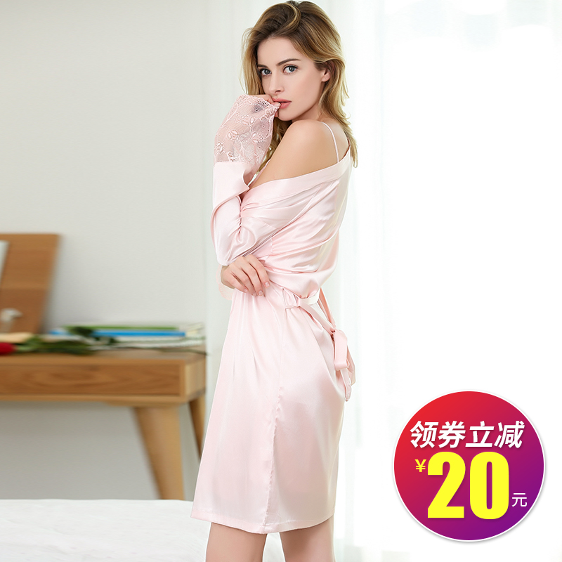e91c7059e Sexy pajamas women summer strap nightdress Ice Silk two-piece suit  short-sleeved lace long section can wear home service
