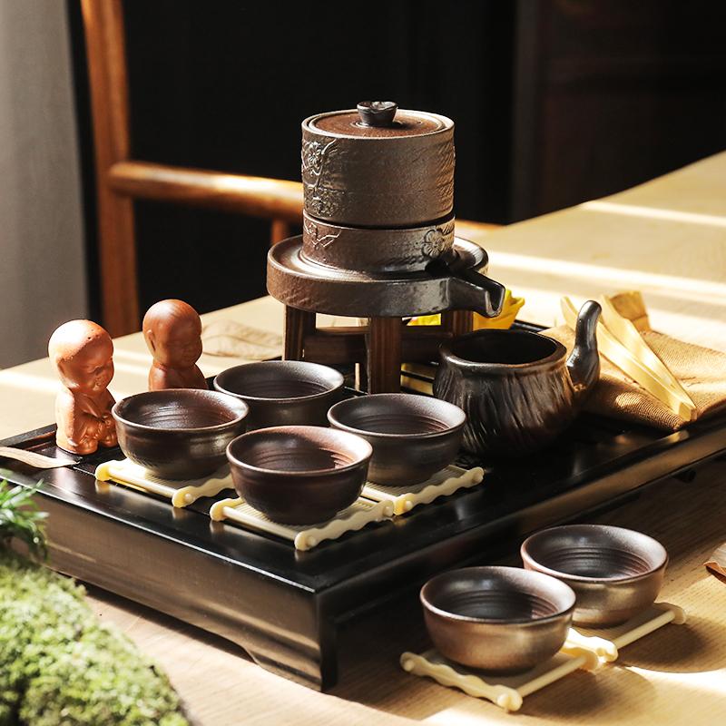【领艺】半自动石磨盘功夫茶具九件套