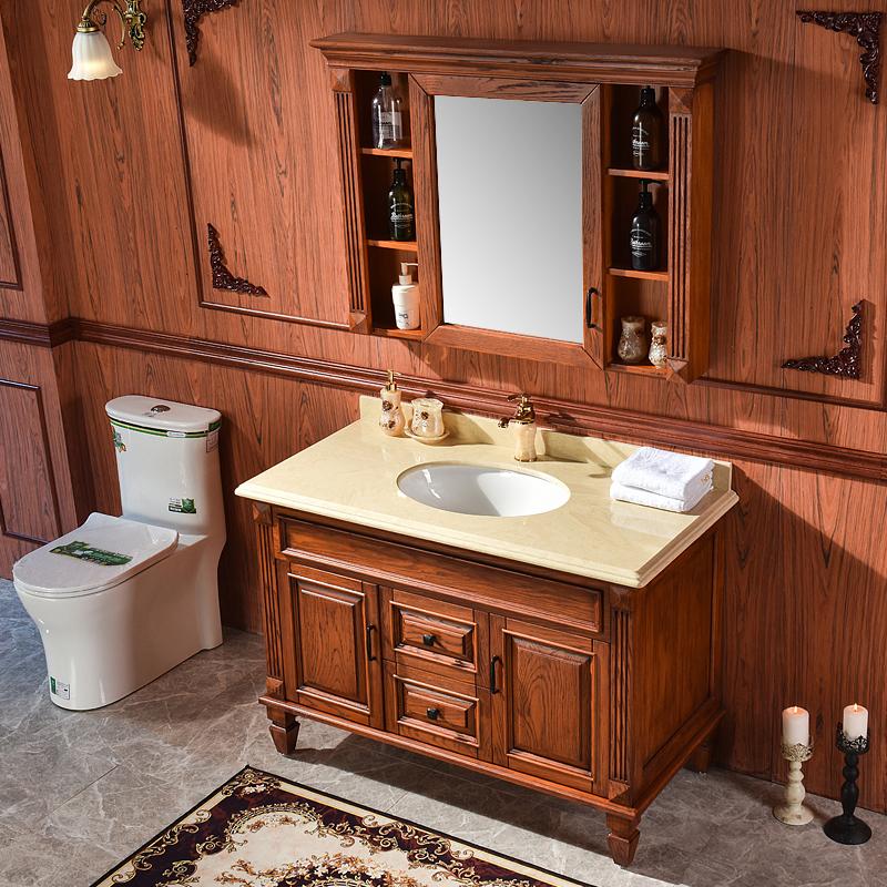 简欧美式浴室柜卫生间落地式卫浴柜红橡实木乡村洗手盆洗漱台组合